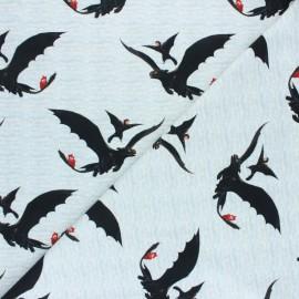 Tissu jersey Poppy Dragons - gris x 10cm