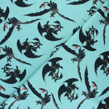 Poppy Jersey fabric - Blue Dragons x 10cm