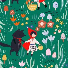 Primrose Fabrics cotton fabric - green Wolf and Red x 10 cm