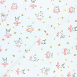 Poppy Jersey fabric - white Dancing rabbit x 10cm