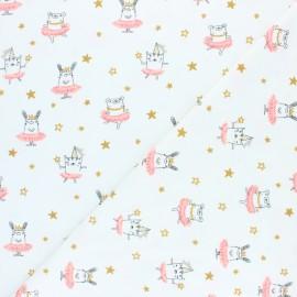 Tissu jersey Poppy Dancing Rabbit - blanc x 10cm