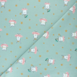 Poppy Jersey fabric - green Dancing rabbit x 10cm