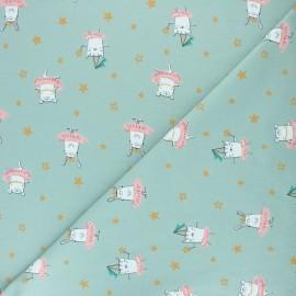 Tissu jersey Poppy Dancing Rabbit - vert x 10cm