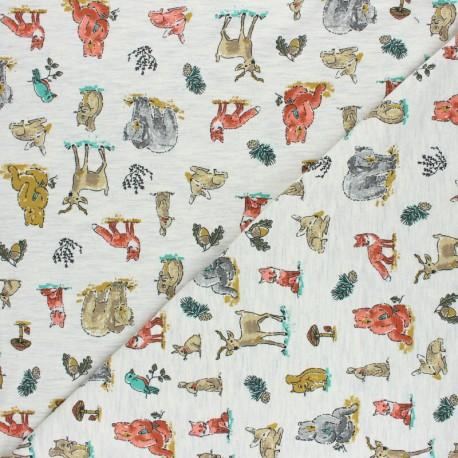 Poppy Jersey fabric - grey Forest Animals x 10cm