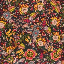 Poppy French Terry Fabric - black Flower power x 10cm