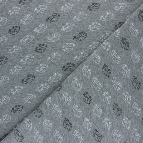 Poppy Jersey fabric - dark grey Car Traffic x 10cm