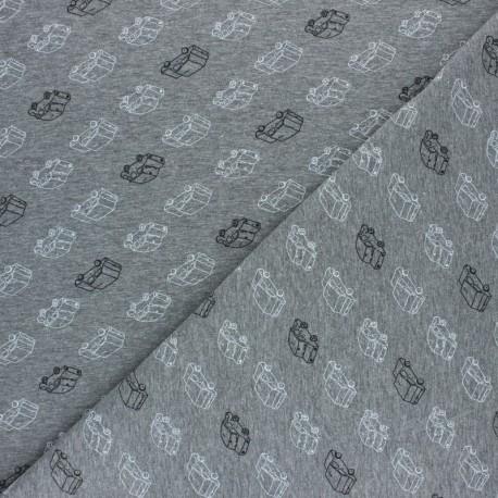 Tissu jersey Poppy Car Traffic - gris foncé x 10cm