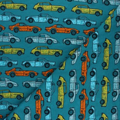 Poppy Sweatshirt fabric - blue Soft sweat cars x 10cm