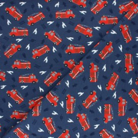 Cotton Jersey fabric - Blue Fire truck x 10cm