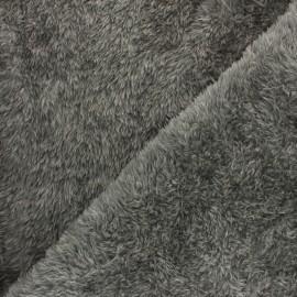 Tissu Doudou Fourrure - gris x 10 cm