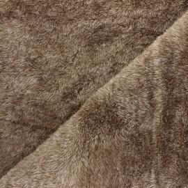Tissu Doudou Fourrure - gris anthracite x 10 cm