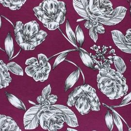 Tissu Jersey Viscose Art floral - violet x 10 cm