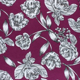 Viscose Jersey Fabric - Purple Art Floral x 10 cm