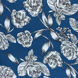 Tissu Jersey Viscose Art floral - bleu x 10 cm