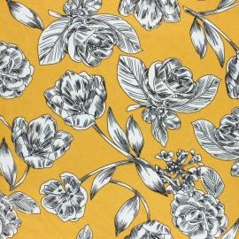 Tissu Jersey Viscose Art floral - moutarde x 10 cm