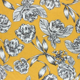 Viscose Jersey Fabric - Yellow Art Floral x 10 cm
