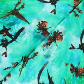 Tissu jersey Poppy Dragons Le monde caché - vert x 10cm
