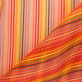 Tissu moustiquaire rayé Arc en ciel - Rouge  x 10cm