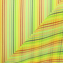 ♥ Coupon 80 cm X 145 cm ♥ Tissu moustiquaire rayé Arc en ciel - Vert