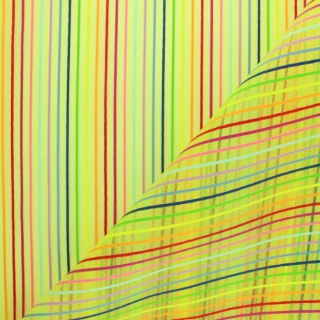Rigid mosquito striped rainbow fabric  - green x 10cm