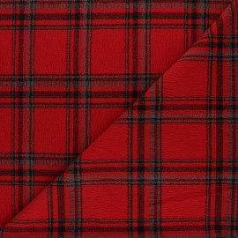 Checked viscose crepe fabric - red x 10cm