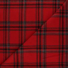 Tissu viscose crêpe à carreaux - rouge x 10 cm