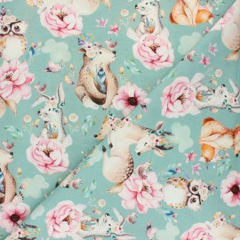 Cotton Jersey fabric - Blue Animaux fleuris x 10cm