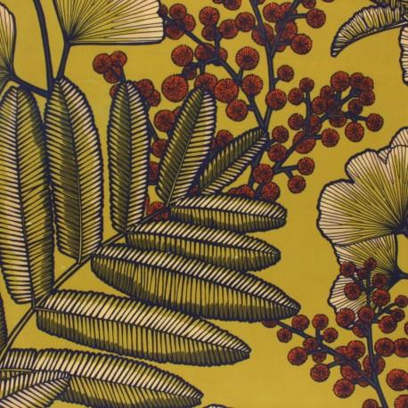 Short velvet fabric - Pine Green Gingko x 50cm