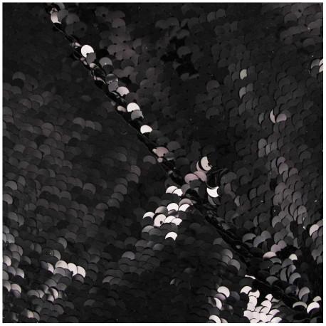 Tissu paillettes cousues Charleston noir x 10cm