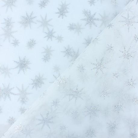 Tissu tulle étoile pailleté - blanc/argent x 10cm