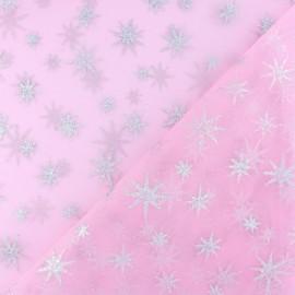 Tissu tulle étoile pailleté - rose/argent x 10cm