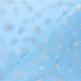 Tissu tulle étoile pailleté - blanc/doré x 10cm