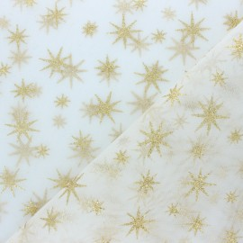 Glittery Tulle fabric - white/gold Star x 10cm