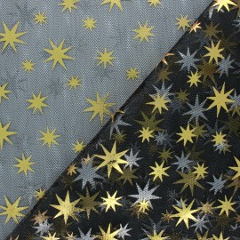 Glittery Tulle fabric - black/silver Star x 10cm
