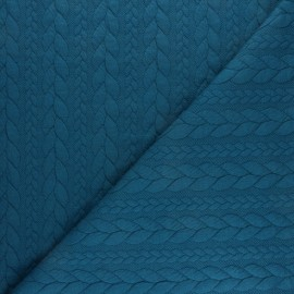 Twist jersey fabric - Peacock blue x 10cm