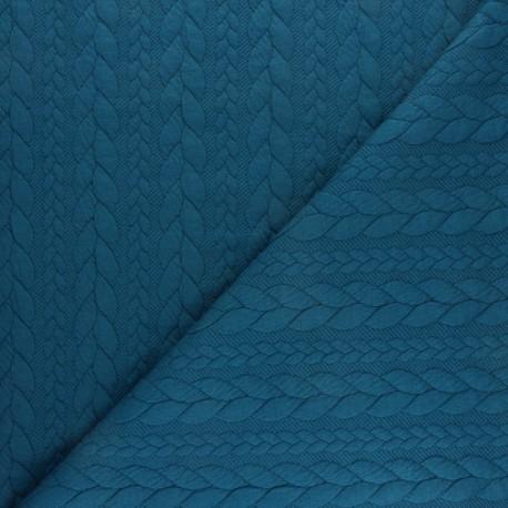 Tissu jersey Torsade - Bleu Paon x10cm