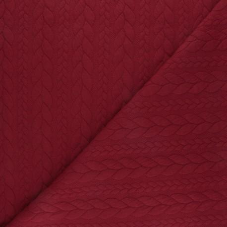 Tissu jersey Torsade - Rouge passion x10cm