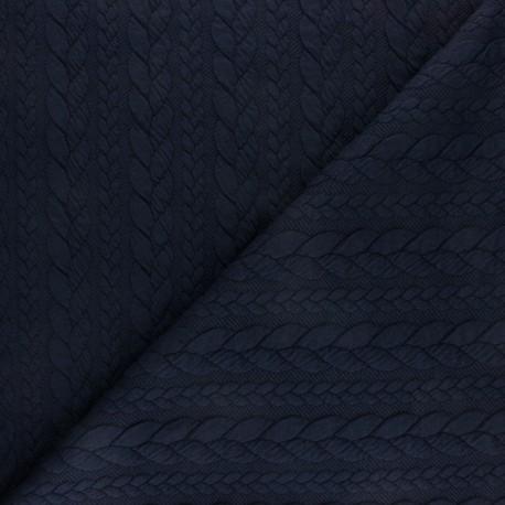 Tissu jersey Torsade - Bleu marine x10cm