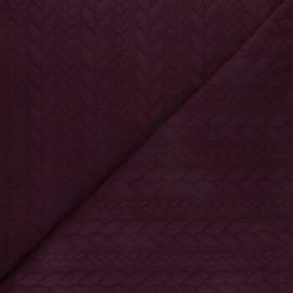 Tissu jersey Torsade - Prune x10cm