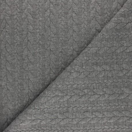 Tissu jersey Torsade - Gris chiné x10cm