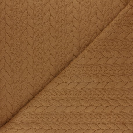 Tissu jersey Torsade - Ocre x 10cm