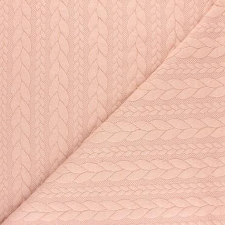 Tissu jersey Torsade - Rose pastel x 10cm