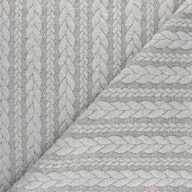 Tissu jersey Torsade - Gris clair chiné x 10cm