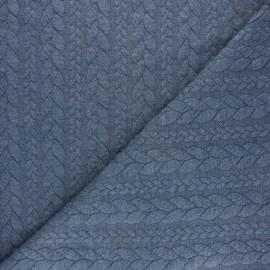 Tissu jersey Torsade - Bleu chiné x 10cm