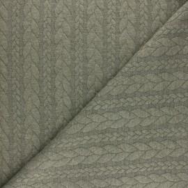 Tissu jersey Torsade - Vert chiné x 10cm