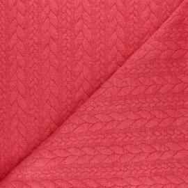 ♥ Coupon 10 cm X 150 cm ♥ Tissu jersey Torsade - Rouge chiné