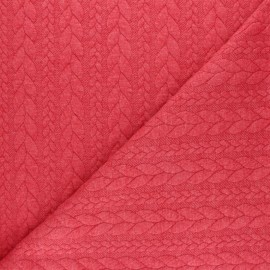 ♥ Coupon 10 cm X 150 cm ♥ Twist jersey fabric - Mottled red