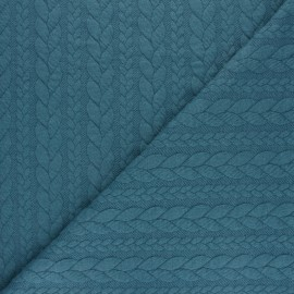 Tissu jersey Torsade - Bleu x 10cm