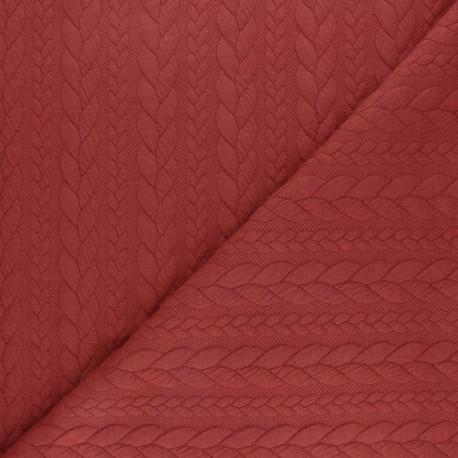 Tissu jersey Torsade - Brique x 10cm
