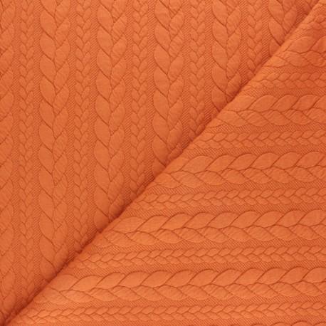 Tissu jersey Torsade - Potiron x 10cm